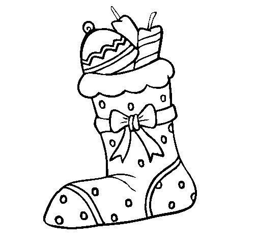 Desenho de Meia com presentes II para Colorir