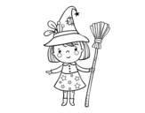 Desenho de Menina bruxa do Halloween para colorear