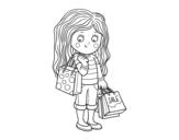 Desenho de Menina com compras do verão  para colorear
