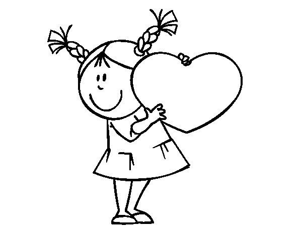 Desenho de Menina com coração para Colorir
