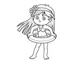Desenho de Menina com flutuador para colorear