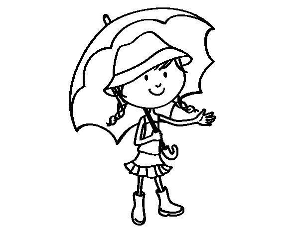 Desenho de Menina com guarda-chuva para Colorir