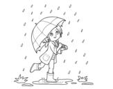Desenho de Menina com guarda-chuva na chuva para colorear