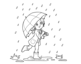 Dibujo de Menina com guarda-chuva na chuva