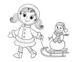 Desenho de Menina com o trenó e boneco de neve para colorear