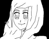 Dibujo de Menina com olhar feliz