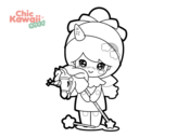 Desenho de Menina disfarçada Kawaii para colorear