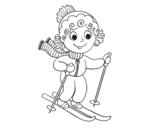 Desenho de Menina esquiadora para colorear