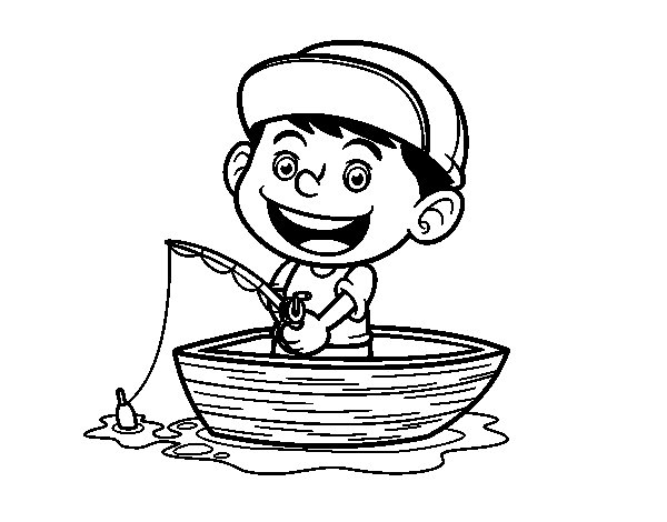 Dibujos Para Colorear Un Pescador: Desenho De Menino A Pescar Para Colorir