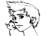 Desenho de Menino com gato para colorear