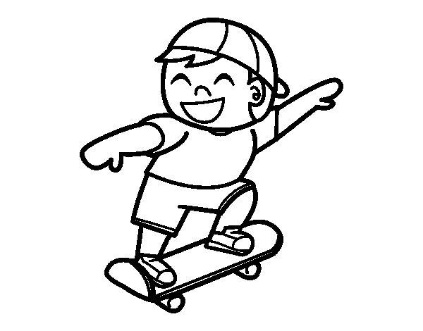Menino Com Skate Colorear Gato De Pintar