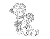 Desenho de Menino do pirata com seu cão para colorear