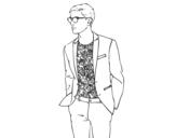 Desenho de Menino moderno para colorear