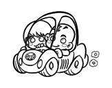 Desenho de Meninos conduzindo para colorear