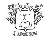 Desenho de Mensagem de amor para colorear