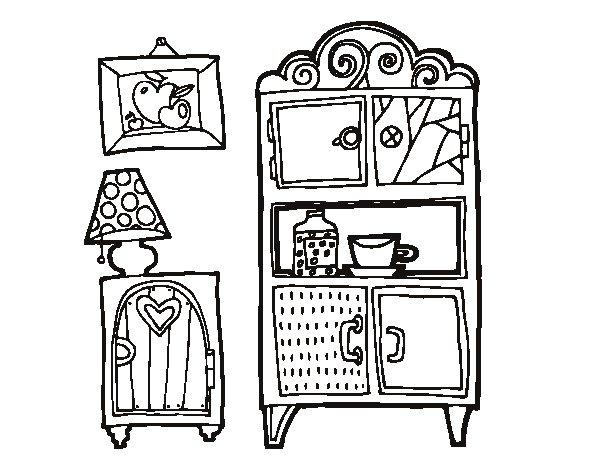 Desenho de mob lia de sala de estar para colorir for Sala de estar dibujo