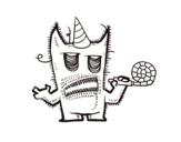 Desenho de Monstro comemora seu aniversário para colorear