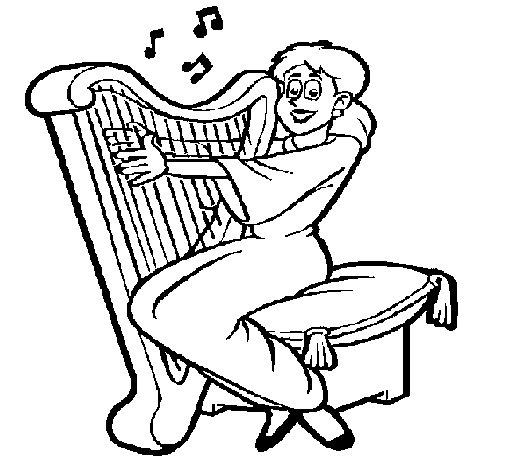 Desenho de Mulher a tocar harpa para Colorir