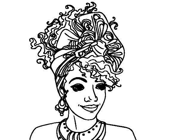 Desenho de Mulher africana para Colorir