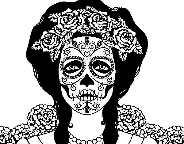 Desenho De Mulher Caveira Mexicana Para Colorir