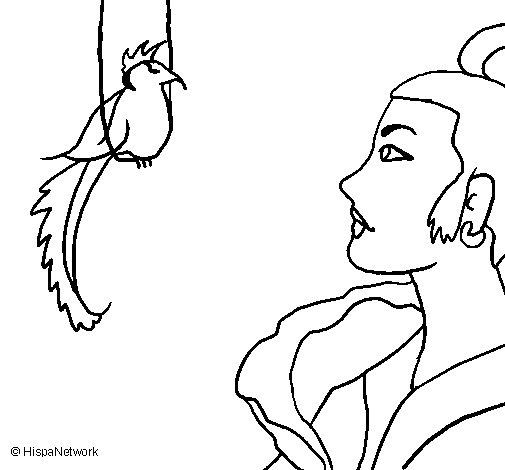 Desenho de Mulher e pássaro para Colorir