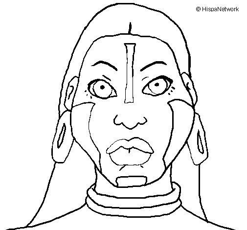 Desenho de Mulher maia para Colorir