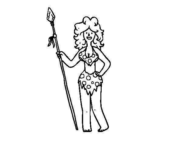 Desenho de Mulher troglodita para Colorir