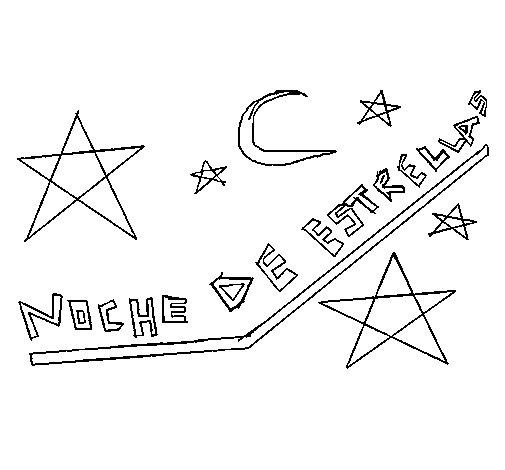Desenho de Noite de estrelas para Colorir