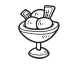 Dibujo de O copo com três bolas de sorvete