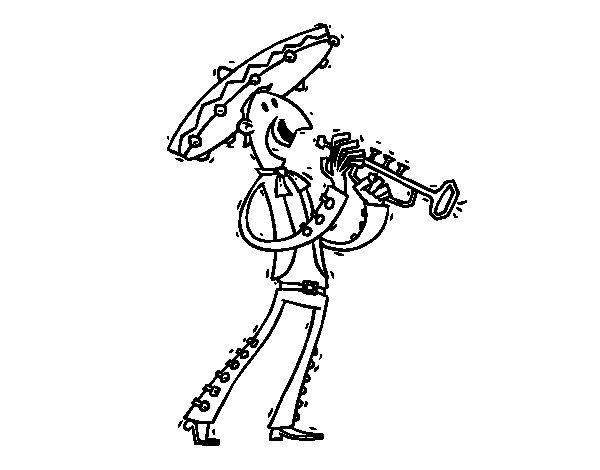 Desenho de O Mariachi para Colorir