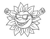 Desenho de O sol com óculos de sol para colorear