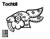 Desenho de Os dias astecas: coelho Tochtli para colorear