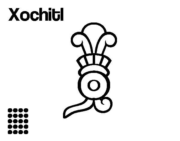Desenho de Os dias astecas: flor Xochitl para Colorir
