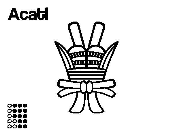 Desenho de Os dias astecas: junco Acatl para Colorir
