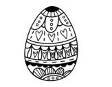 Desenho de Ovo da páscoa com corações para colorear