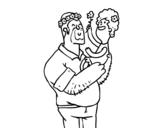 Dibujo de Pai e filha com flores
