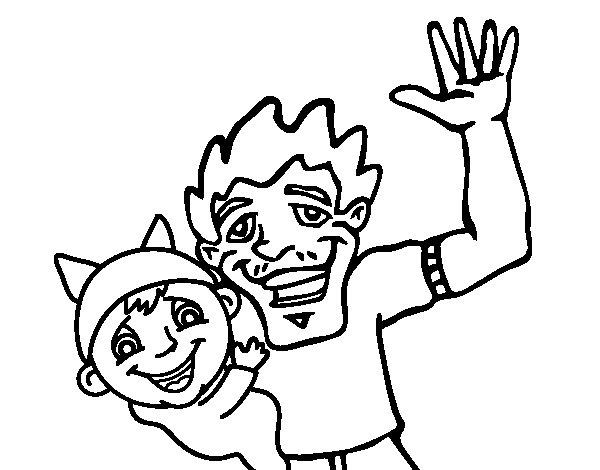 Desenho De Pai E Filho Acenando Para Colorir