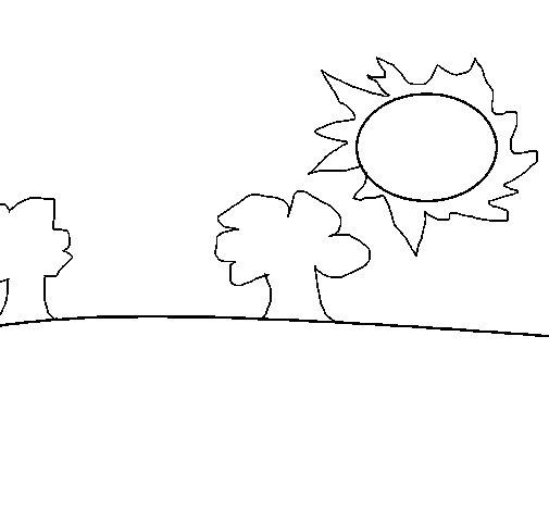 Desenho de Paisagem natural para Colorir