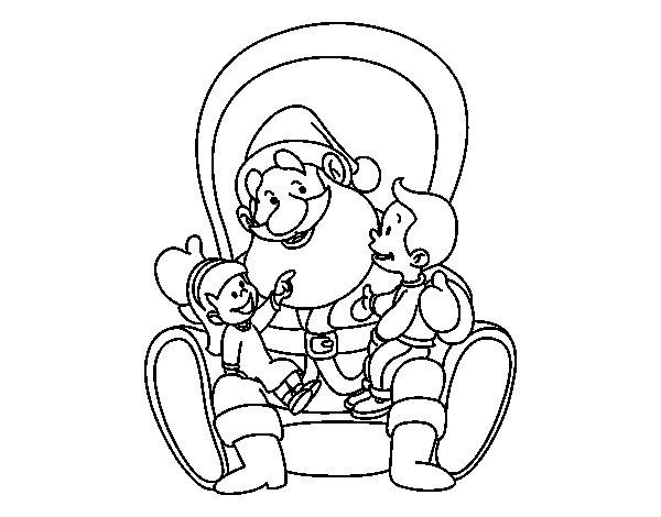 Desenho De Papai Noel Com Crianças Para Colorir