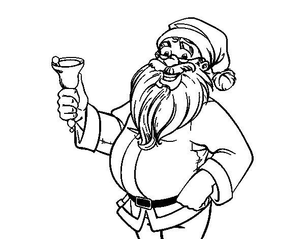 Desenho De Papai Noel Com Sino Para Colorir