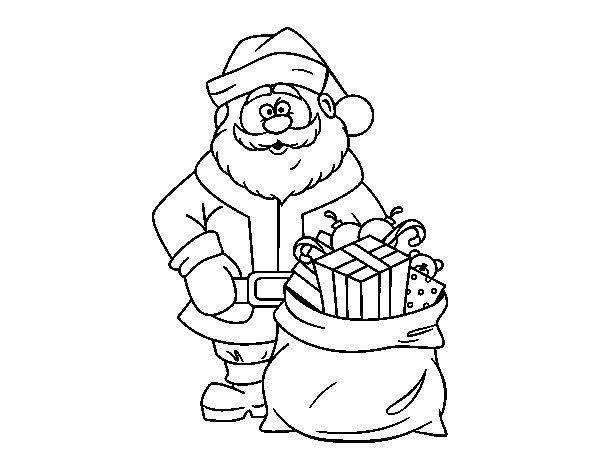 Desenho De Papai Noel Com Um Saco Dos Presentes Para