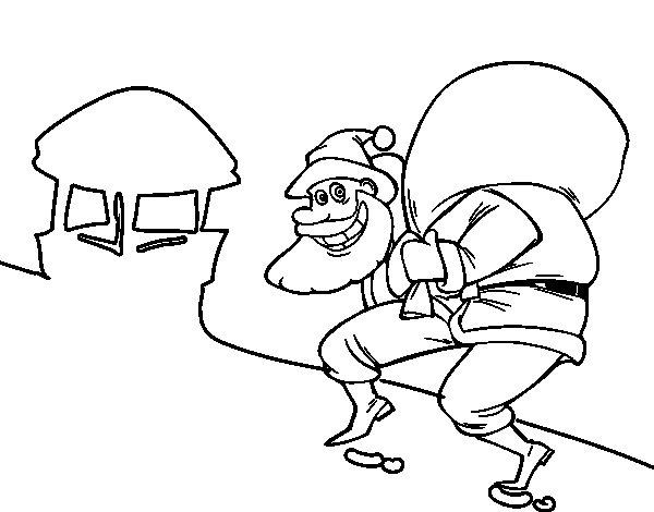 Desenho De Papai Noel E Chaminé Para Colorir
