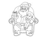 Desenho de Papai Noel e da criança do Natal para colorear