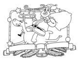 Desenho de Papai Noel e rena de Natal para colorear