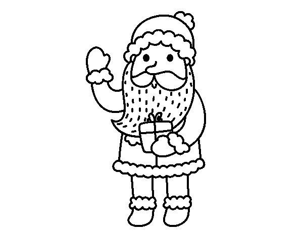Desenho De Papai Noel E Seu Presente Para Colorir