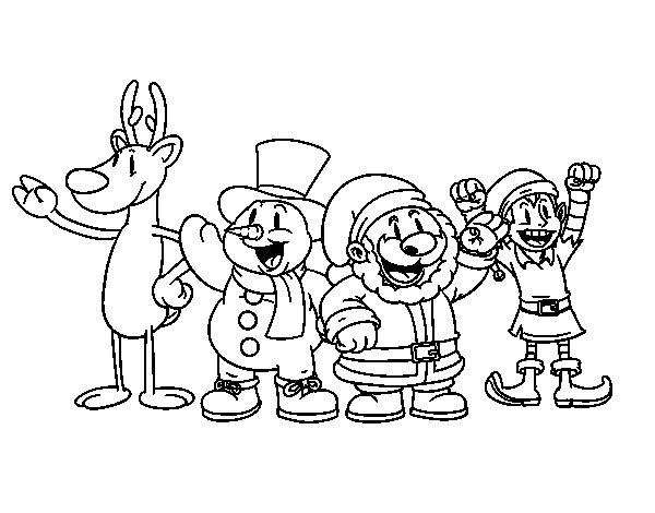Desenho De Papai Noel E Seus Amigos Para Colorir