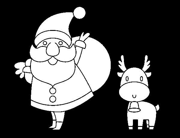 Desenho de Papai Noel e um rena para Colorir