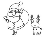 Dibujo de Papai Noel e um rena