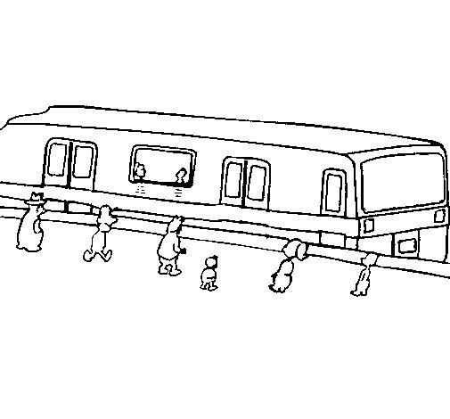 Desenho de Passageiros à espera do comboio para Colorir