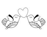 Desenho de Pássaros com coração para colorear